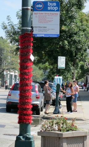 ©2011 Lindsay Obermeyer yarn bombing, yarn storming, community art, Rogers Park, Chicago