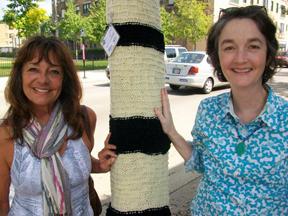 Lindsay and Carol at Howard St Yarn Bombing 2011