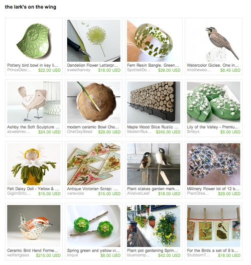 the lark's on the wing, an etsy treasury by enjolive