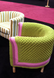©2012 Lindsay Obermeyer chair covers knit with Bernat yarns