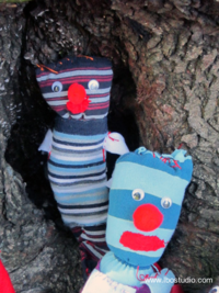 ©2012 Lindsay Obermeyer sock doll clowns by 7 year olds