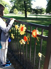 ©2012 Lindsay Obermeyer Yarn Bombing, Rogers Park Is Blooming, Day of the Dead