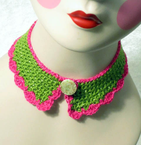 ©2013 Lindsay Obermeyer Crocheted Collar, free pattern