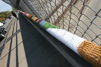 ©2012 Sara Convery Addison St. Bridge Yarn Bombing, Yarn Storming, Street Art