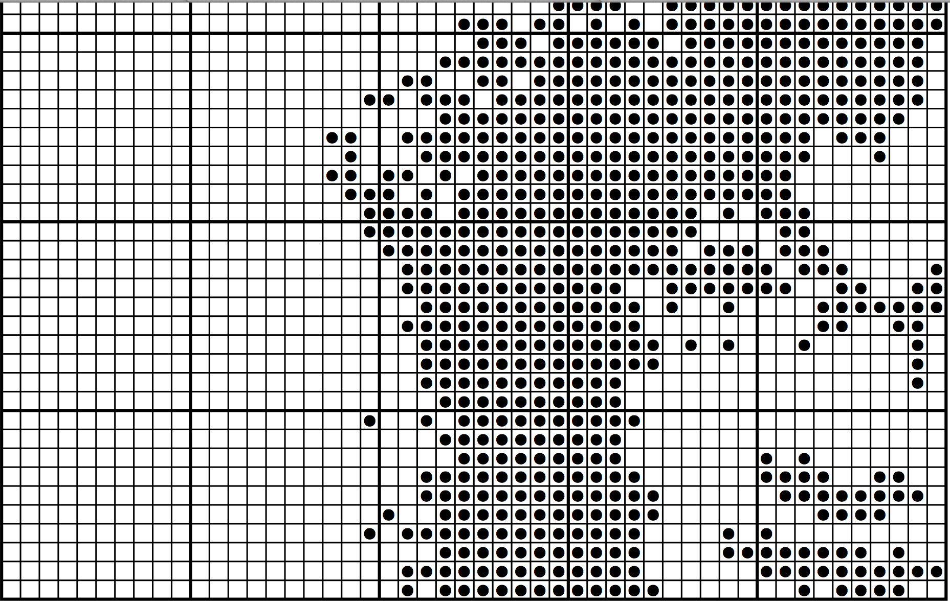 How to create filet crochet charts from your own photos serendipity so i just taped them together and have an easy to follow chart for filet crochet when ive completed my artwork ccuart Gallery